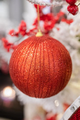 Red Glitter Ball Christmas Tree Ornaments