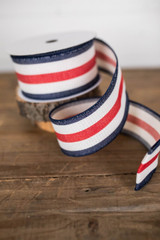 "2.5"" x 10 Yard Red, White & Blue Stripe Wired Ribbon"