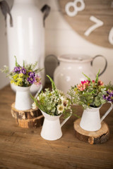 """10"""" Aster Daisy Floral in White Pitcher Accent"""