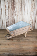"24"" Wood and Galvanized Metal Wheelbarrow"