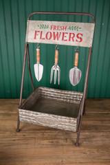"26"" Metal Flower Planter with Garden Tools"