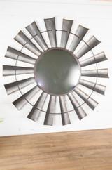 "35"" Metal Windwill Wall Mirror"