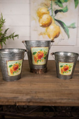 Nesting Galvanized Metal Sunflower Design Buckets - Set of 3