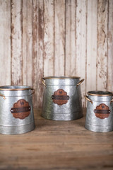 Nesting Metal Container w/Leather Medallion - Set of 3