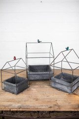 Nesting Metal and Magnesium Planter with Bird Accent - Set of 3