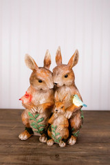 "11.6"" Solar Lighted Resin Bunny Family"