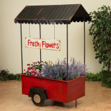 """65.75"""" Antique Metal Flower Cart"""