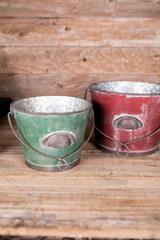 Metal Antique Planter Buckets - Set of 2