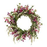 24-Inch Diameter Springtime Dusty Miller Mixed Flower Garden Wreath