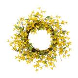 24-Inch Diameter Natural Twig Forsythia Wreath, Yellow