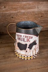 "12"" Metal Farm Fresh Milk Watering Can"