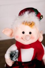 "13"" Plush Elf Figurine in Buffalo Check Dress"