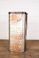 """14""""H Tall Metal Allover Words Container"""