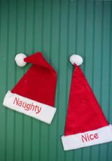 "22"" Reversible Santa Hat ""Naughty"" and ""Nice"""