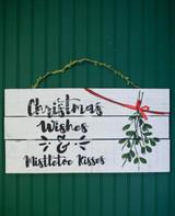 "23.6""L Wood ""Christmas Wishes & Mistletoe Kisses"" Wall Decor"