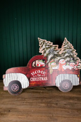"""33.4"""" Wood Snowman in Red Truck with Easel"""