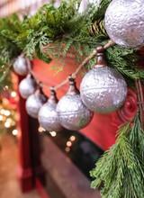 """42"""" Metal Silver Rustic Ornament Garland"""