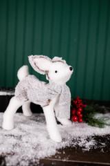 "9"" Styrofoam White and Gray Deer Figurine"