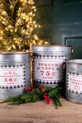 "13.9""H Galvanized Metal Holiday Tree Farm Buckets - Set of 3"