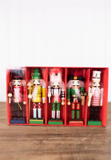 "5"" Wood Nutcracker Ornaments - Set of 5"