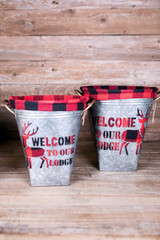 Nesting Galvanized Metal Holiday Buckets with Black & Red Buffalo Check Plaid
