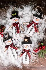 """11.8"""" Wood Snowman w/ Buffalo Check Plaid Scarf Ornament"""
