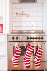 """21"""" Acrylic Cable Knit Candy Cane Red Stripe Stocking"""