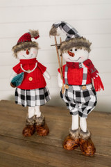 "25"" Plush Snowman Figurine with Buffalo Check Pants"