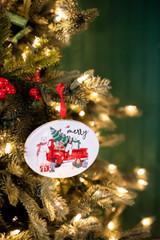 "4.7"" Dolomite Holiday Truck & Polar Bear Ornament"