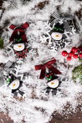 """5.25"""" Snowflake with Snowman Head and Buffalo Check Accents Ornament"""