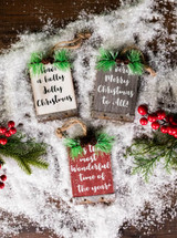 """5"""" Wood Holiday Sign Ornament with Pinecone Accent"""