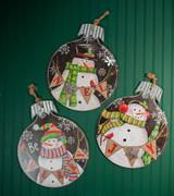 "18.9"" Wood and Metal Snowman Ornament Plaque"