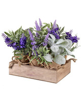 """9"""" Lavender & Lamb's Ear In Burlap with Crate - Set of 6"""