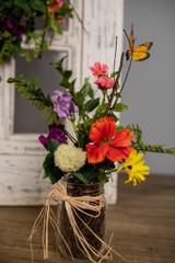"""13"""" Summer Garden with Monarch in Jar"""