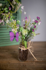 "15"" Wild Flower with Butterfly in Glass Jar"