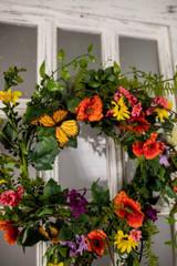 """22"""" Summer Garden with Monarch Wreath"""