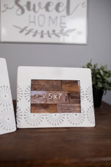 """10"""" White and Grey Metal 5x7 Picture Frame"""