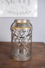 "11"" Metal Galvanized Lantern Bronze with Gold Finish"
