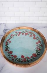 "15"" Mango Wood Pomegranate Wreath Tray"