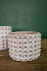 """4""""H x 5""""D Stone Geo Dotted Hobnail Pot"""