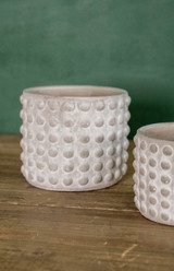 """5""""H x 6""""D Stone Geo Dotted Hobnail Pot"""