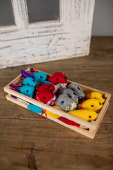 Fabric Bird Ornaments In Wooden Tray - Set of 12