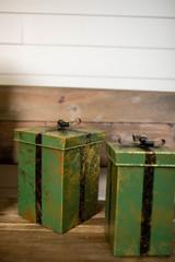 "10"" Metal Green Gift Boxes - Set of 2"
