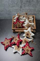 """3"""" Knit Star Ornament W/ Box - Set of 12"""
