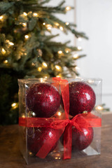 "4"" Red Glitter Christmas Ornament Ball - Set of 4"