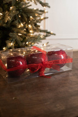 "5"" Red Glitter Christmas Ornament Balls - Set of 3"