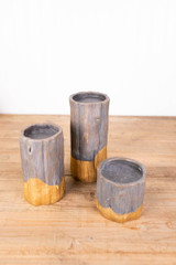 """8"""" Resin Gold Dipped Tree Trunk - Set of 3"""