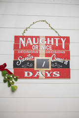 "18"" Large Wood Christmas Countdown Hanging Sign"