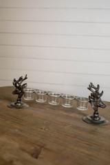"19"" Metal/Glass Deer Candle Holder"