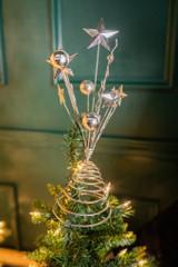"""14"""" Metal Starburst Tree Topper Silver"""